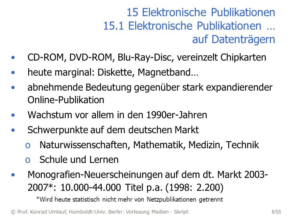 © Prof. Konrad Umlauf, Humboldt-Univ. Berlin: Vorlesung Medien - Skript 8/55 15 Elektronische Publikationen 15.1 Elektronische Publikationen … auf Dat