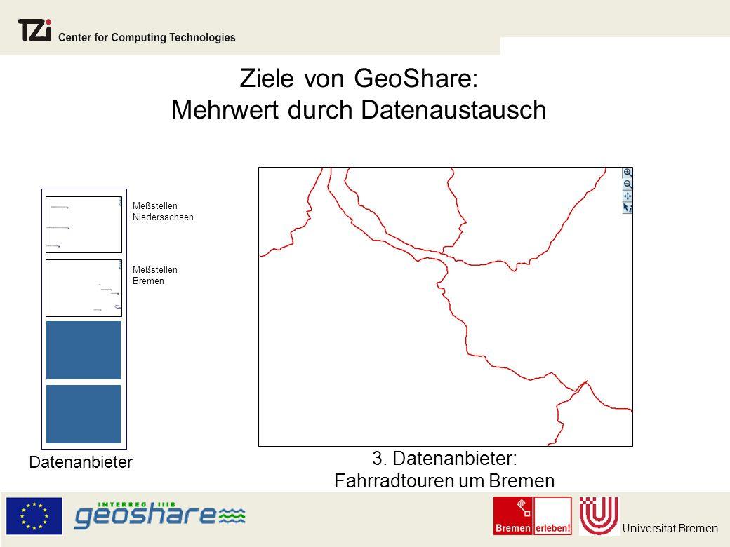 Universität Bremen Ziele von GeoShare: Mehrwert durch Datenaustausch 3.