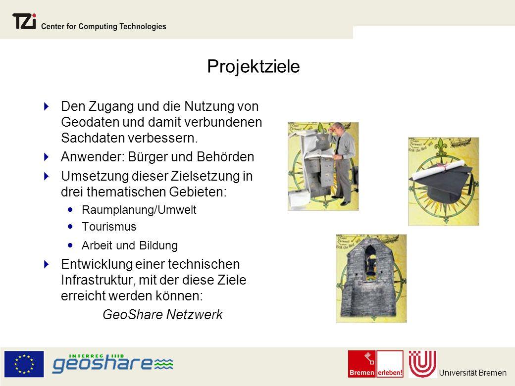 Universität Bremen Projektziele Den Zugang und die Nutzung von Geodaten und damit verbundenen Sachdaten verbessern.