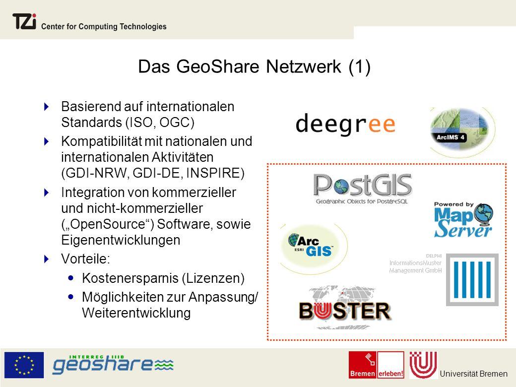 Universität Bremen Das GeoShare Netzwerk (1) Basierend auf internationalen Standards (ISO, OGC) Kompatibilität mit nationalen und internationalen Aktivitäten (GDI-NRW, GDI-DE, INSPIRE) Integration von kommerzieller und nicht-kommerzieller (OpenSource) Software, sowie Eigenentwicklungen Vorteile: Kostenersparnis (Lizenzen) Möglichkeiten zur Anpassung/ Weiterentwicklung