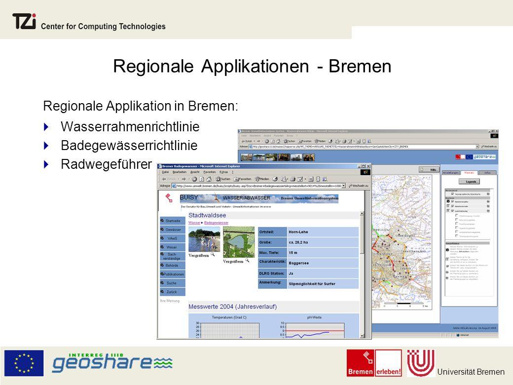 Universität Bremen Regionale Applikationen - Bremen Regionale Applikation in Bremen: Wasserrahmenrichtlinie Badegewässerrichtlinie Radwegeführer