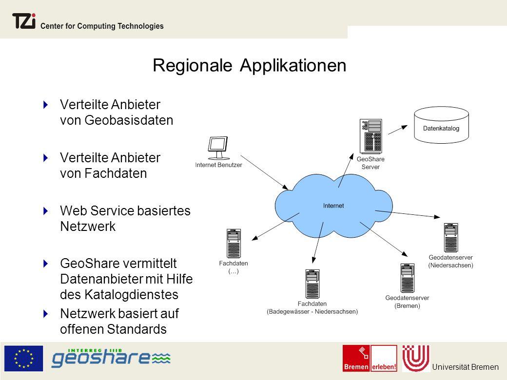 Universität Bremen Regionale Applikationen Verteilte Anbieter von Geobasisdaten Verteilte Anbieter von Fachdaten Web Service basiertes Netzwerk GeoShare vermittelt Datenanbieter mit Hilfe des Katalogdienstes Netzwerk basiert auf offenen Standards