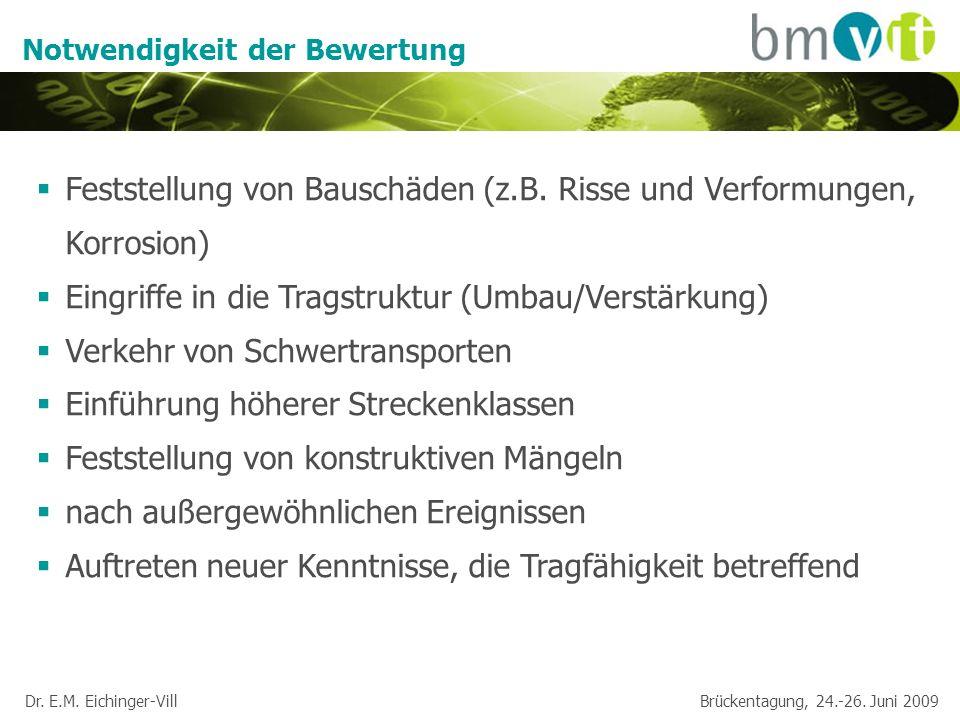 Dr. E.M. Eichinger-Vill Brückentagung, 24.-26. Juni 2009 Notwendigkeit der Bewertung Feststellung von Bauschäden (z.B. Risse und Verformungen, Korrosi