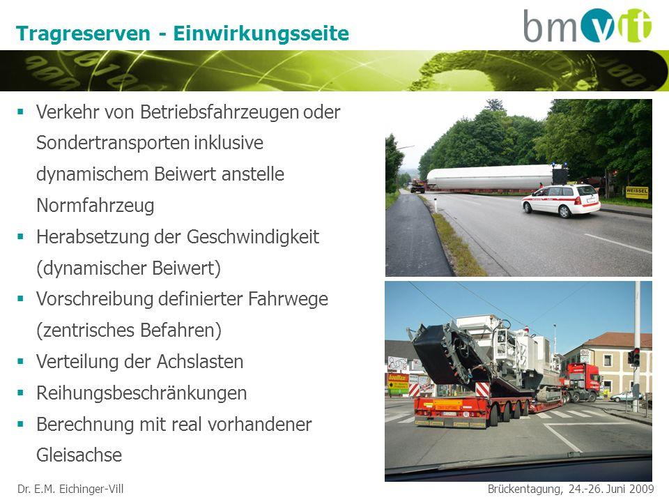 Dr. E.M. Eichinger-Vill Brückentagung, 24.-26. Juni 2009 Tragreserven - Einwirkungsseite Verkehr von Betriebsfahrzeugen oder Sondertransporten inklusi