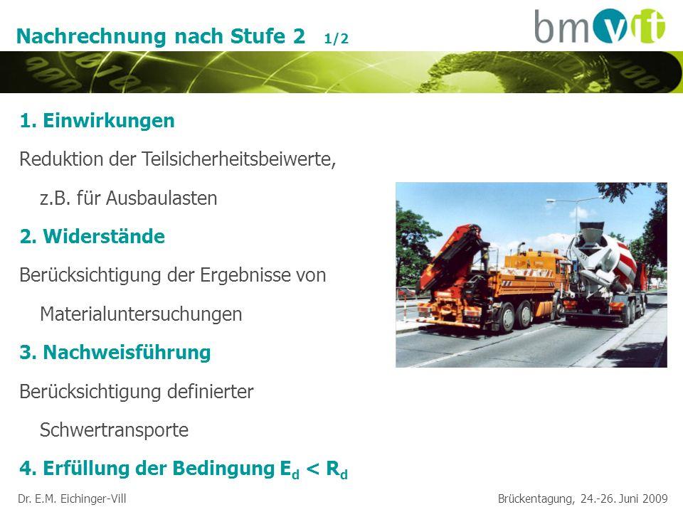Dr. E.M. Eichinger-Vill Brückentagung, 24.-26. Juni 2009 Nachrechnung nach Stufe 2 1/2 1. Einwirkungen Reduktion der Teilsicherheitsbeiwerte, z.B. für