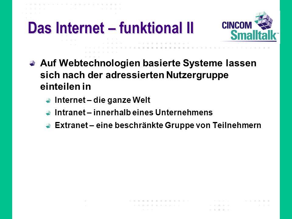 Das Internet – funktional II Auf Webtechnologien basierte Systeme lassen sich nach der adressierten Nutzergruppe einteilen in Internet – die ganze Wel