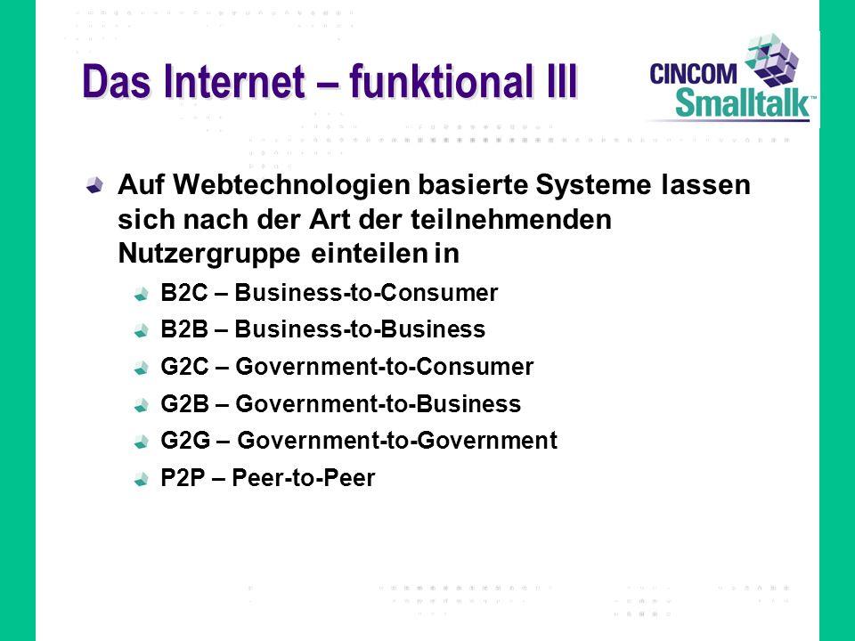 Das Internet – funktional III Auf Webtechnologien basierte Systeme lassen sich nach der Art der teilnehmenden Nutzergruppe einteilen in B2C – Business