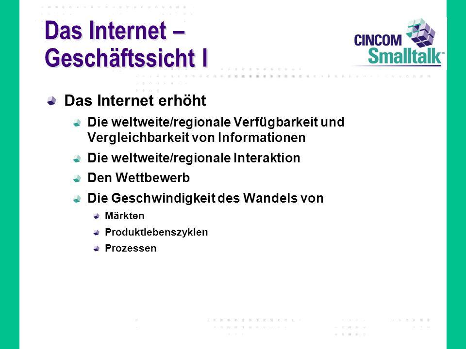 Das Internet – Geschäftssicht I Das Internet erhöht Die weltweite/regionale Verfügbarkeit und Vergleichbarkeit von Informationen Die weltweite/regiona