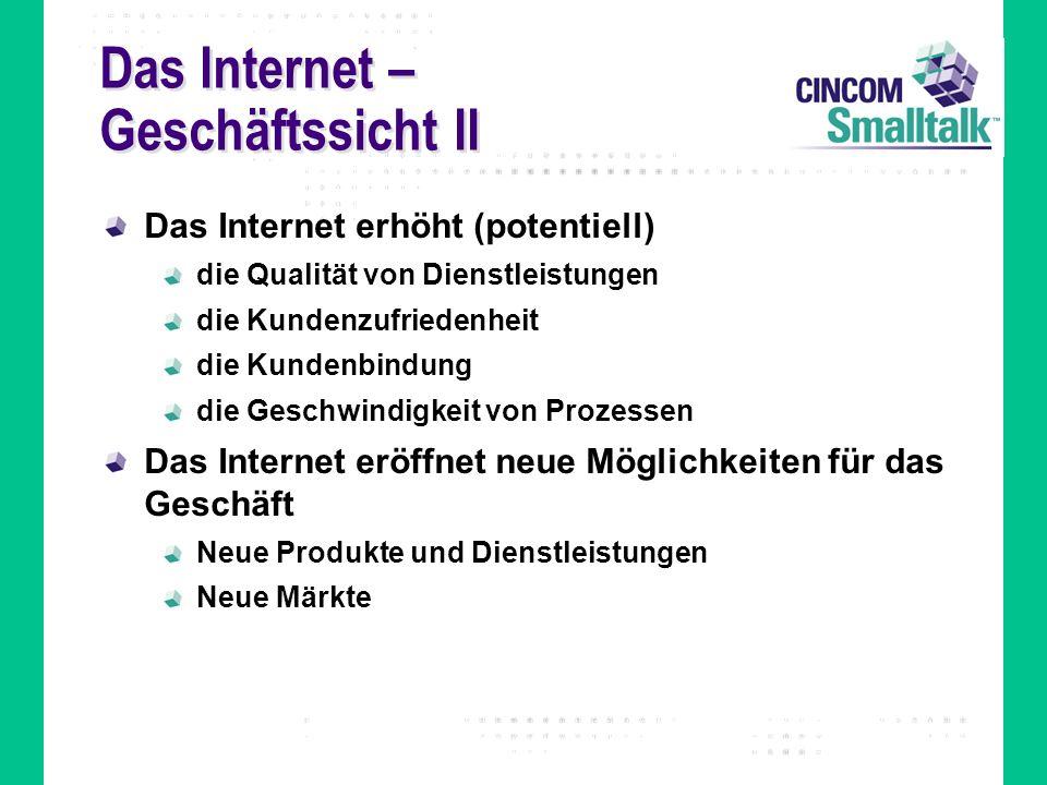 Das Internet – Geschäftssicht II Das Internet erhöht (potentiell) die Qualität von Dienstleistungen die Kundenzufriedenheit die Kundenbindung die Gesc