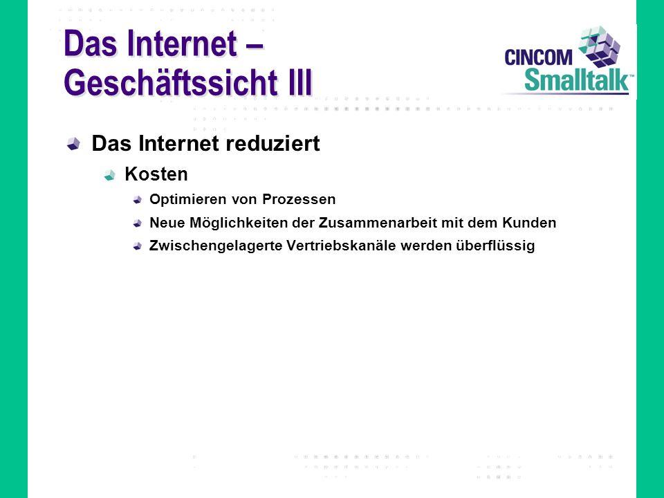 Das Internet – Geschäftssicht III Das Internet reduziert Kosten Optimieren von Prozessen Neue Möglichkeiten der Zusammenarbeit mit dem Kunden Zwischen