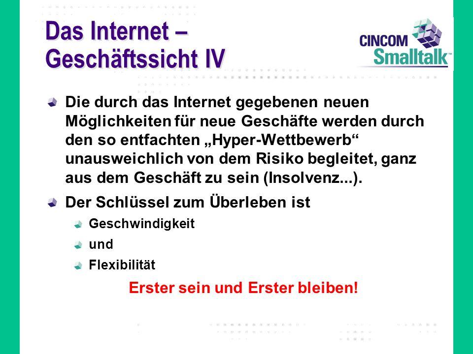 Das Internet – Geschäftssicht IV Die durch das Internet gegebenen neuen Möglichkeiten für neue Geschäfte werden durch den so entfachten Hyper-Wettbewe