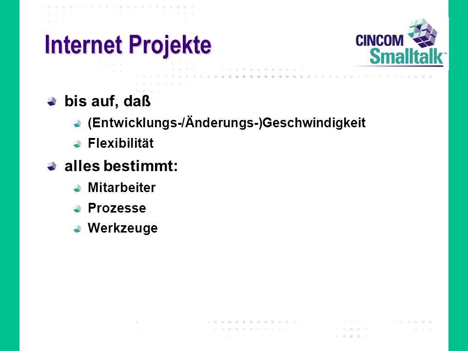 Internet Projekte bis auf, daß (Entwicklungs-/Änderungs-)Geschwindigkeit Flexibilität alles bestimmt: Mitarbeiter Prozesse Werkzeuge