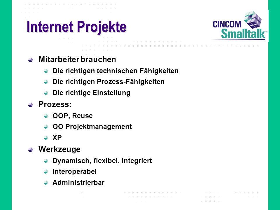Internet Projekte Mitarbeiter brauchen Die richtigen technischen Fähigkeiten Die richtigen Prozess-Fähigkeiten Die richtige Einstellung Prozess: OOP,