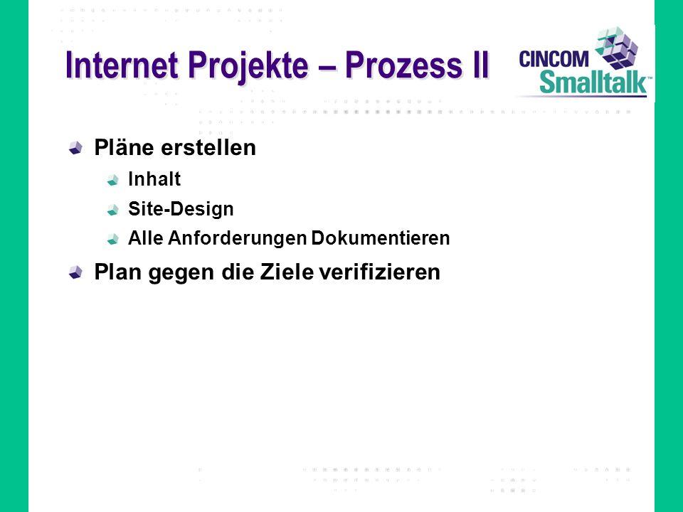 Internet Projekte – Prozess II Pläne erstellen Inhalt Site-Design Alle Anforderungen Dokumentieren Plan gegen die Ziele verifizieren