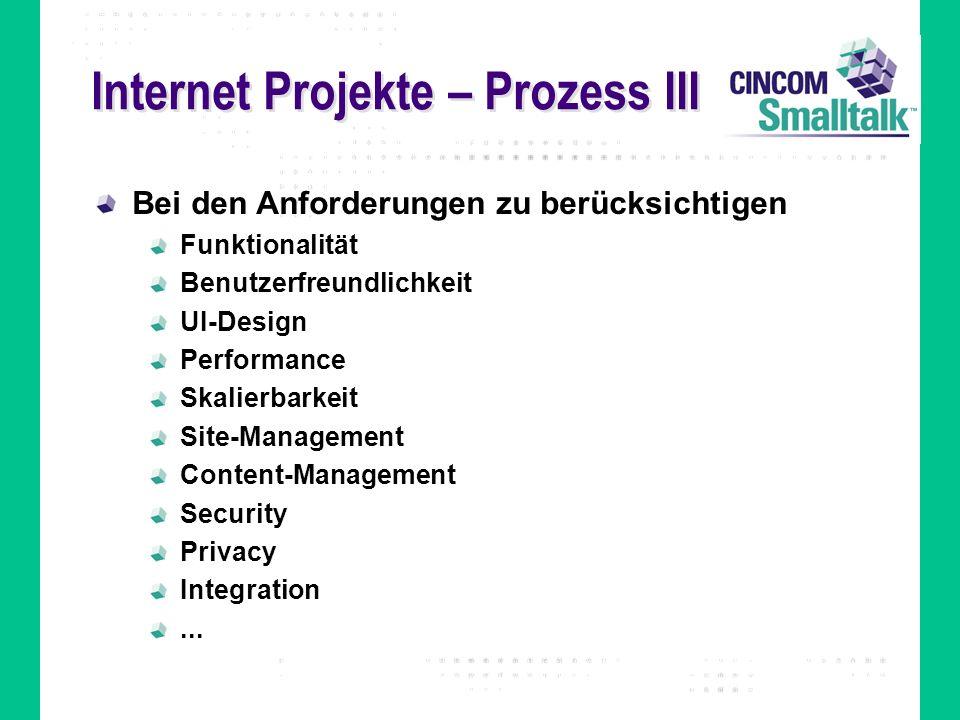 Internet Projekte – Prozess III Bei den Anforderungen zu berücksichtigen Funktionalität Benutzerfreundlichkeit UI-Design Performance Skalierbarkeit Si