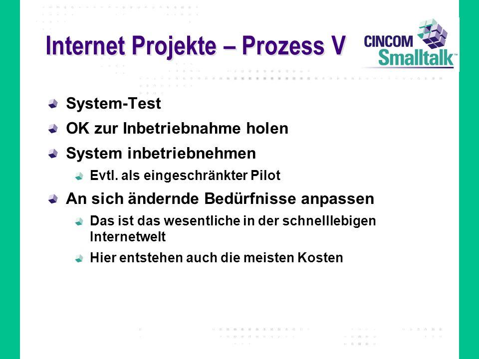 Internet Projekte – Prozess V System-Test OK zur Inbetriebnahme holen System inbetriebnehmen Evtl. als eingeschränkter Pilot An sich ändernde Bedürfni