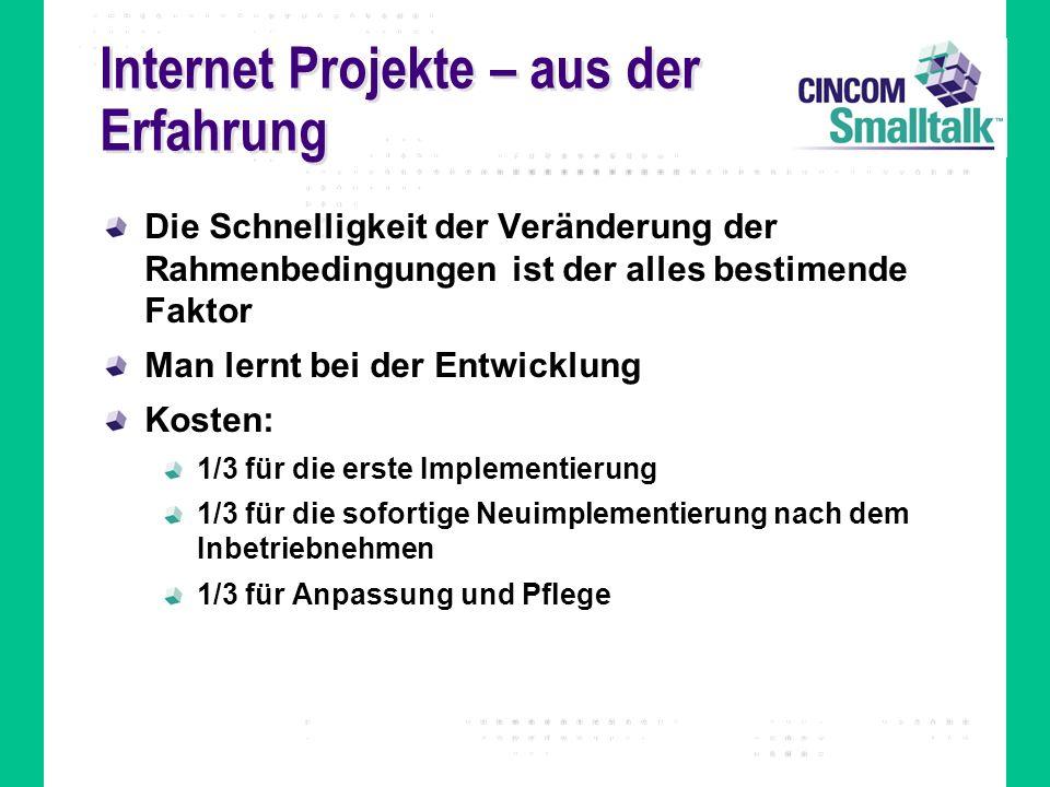 Internet Projekte – aus der Erfahrung Die Schnelligkeit der Veränderung der Rahmenbedingungen ist der alles bestimende Faktor Man lernt bei der Entwic