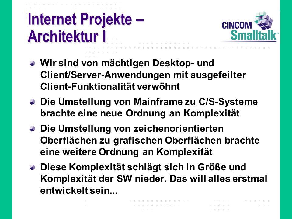 Internet Projekte – Architektur I Wir sind von mächtigen Desktop- und Client/Server-Anwendungen mit ausgefeilter Client-Funktionalität verwöhnt Die Um