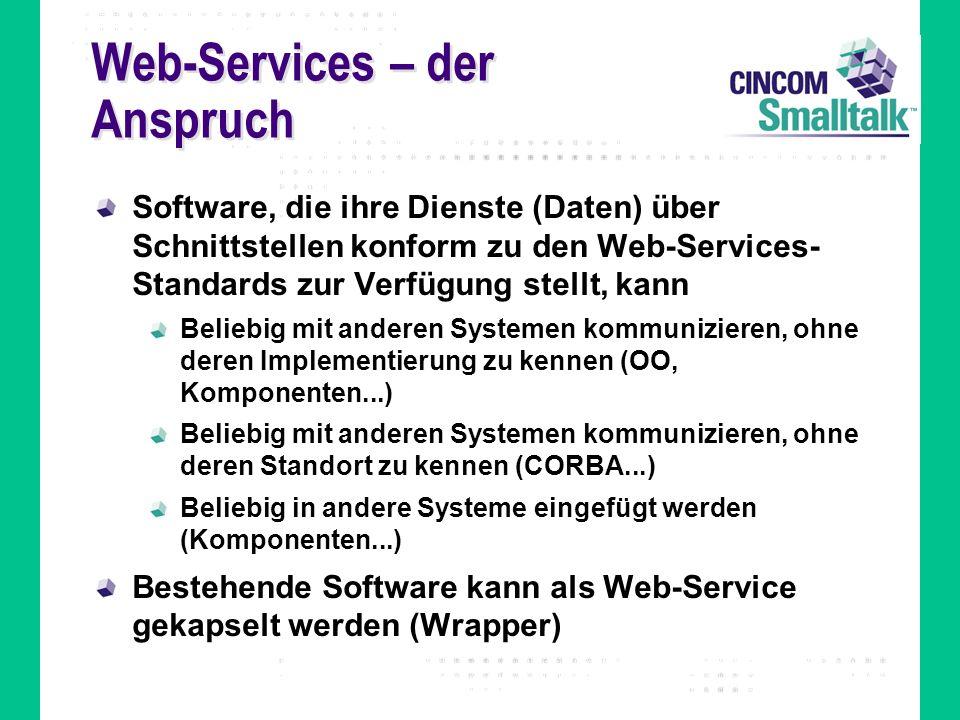 Web-Services – der Anspruch Software, die ihre Dienste (Daten) über Schnittstellen konform zu den Web-Services- Standards zur Verfügung stellt, kann B
