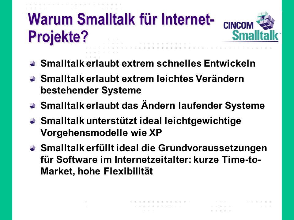Warum Smalltalk für Internet- Projekte? Smalltalk erlaubt extrem schnelles Entwickeln Smalltalk erlaubt extrem leichtes Verändern bestehender Systeme