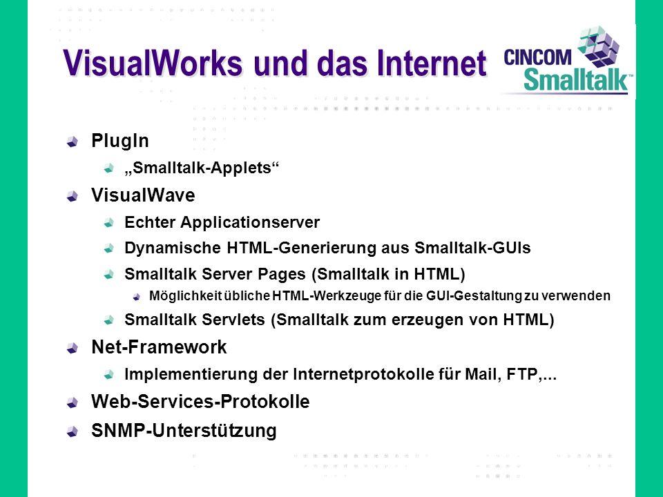 VisualWorks und das Internet PlugIn Smalltalk-Applets VisualWave Echter Applicationserver Dynamische HTML-Generierung aus Smalltalk-GUIs Smalltalk Ser