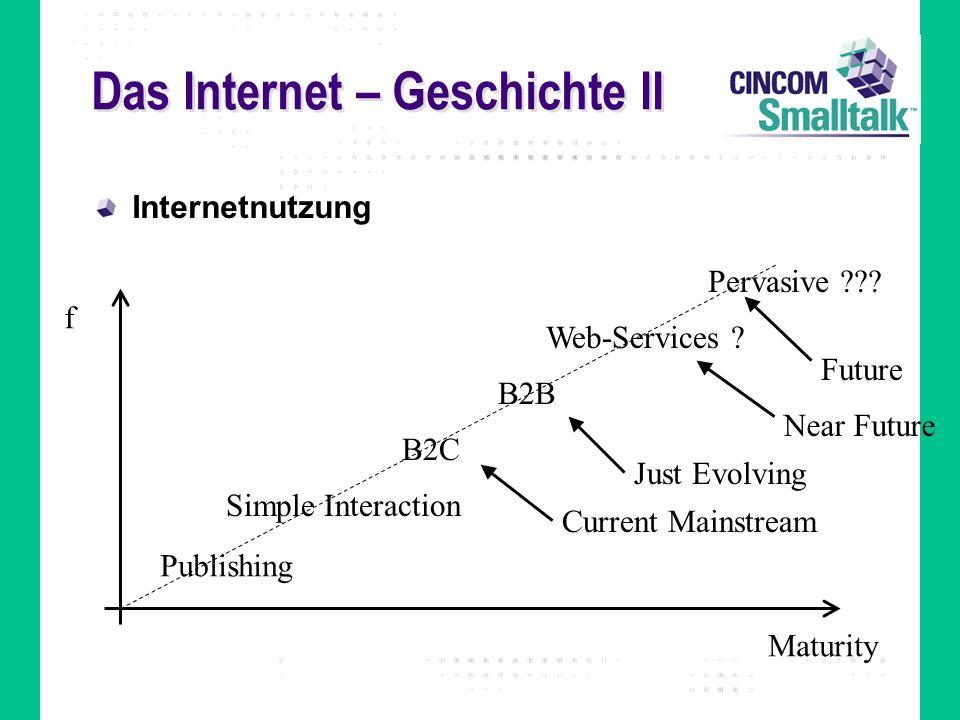 Das Internet – Technologie I Eine weltweit verteilte Menge von Computern, die über ein Netzwerk miteinander verbunden sind und transparent ohne zentrale Steuerung zusammenarbeiten Eine Menge von Diensten, die auf offenen Standards basieren HTTP (HTML) Email (SMTP, IMAP, POP) FTP (FTP) In Zukunft: Web-Services (SOAP, WSDL, UDDI, XML,...)?