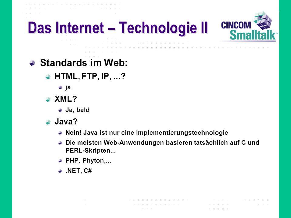 Das Internet – Technologie II Standards im Web: HTML, FTP, IP,...? ja XML? Ja, bald Java? Nein! Java ist nur eine Implementierungstechnologie Die meis
