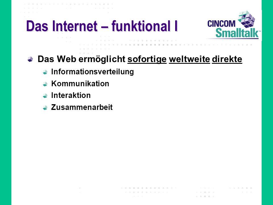 Das Internet – funktional II Auf Webtechnologien basierte Systeme lassen sich nach der adressierten Nutzergruppe einteilen in Internet – die ganze Welt Intranet – innerhalb eines Unternehmens Extranet – eine beschränkte Gruppe von Teilnehmern