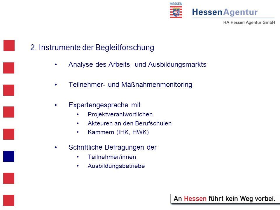 2. Instrumente der Begleitforschung Analyse des Arbeits- und Ausbildungsmarkts Teilnehmer- und Maßnahmenmonitoring Expertengespräche mit Projektverant