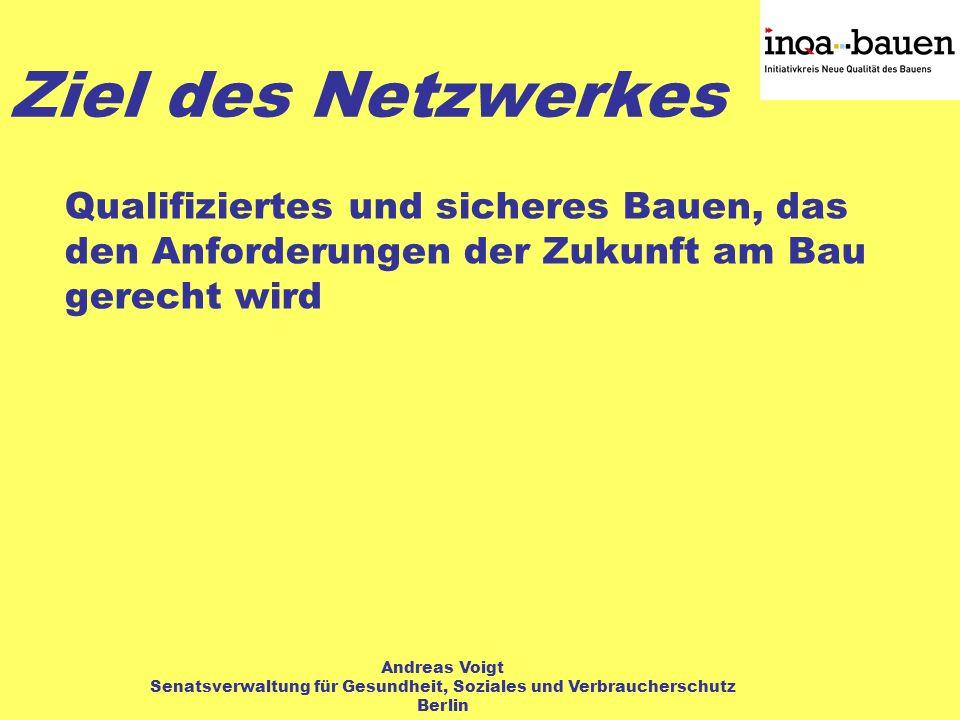 Qualifiziertes und sicheres Bauen, das den Anforderungen der Zukunft am Bau gerecht wird Ziel des Netzwerkes Andreas Voigt Senatsverwaltung für Gesundheit, Soziales und Verbraucherschutz Berlin