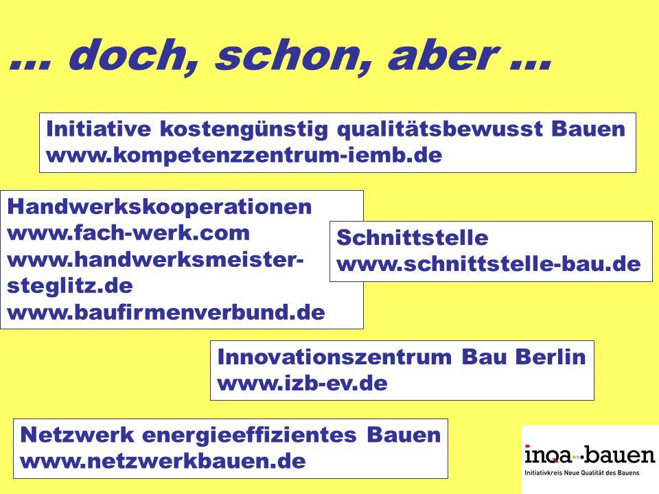 … doch, schon, aber … Handwerkskooperationen www.fach-werk.com www.handwerksmeister- steglitz.de www.baufirmenverbund.de Initiative kostengünstig qualitätsbewusst Bauen www.kompetenzzentrum-iemb.de Innovationszentrum Bau Berlin www.izb-ev.de Schnittstelle www.schnittstelle-bau.de Netzwerk energieeffizientes Bauen www.netzwerkbauen.de