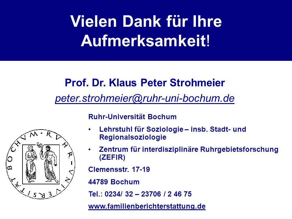 Vielen Dank für Ihre Aufmerksamkeit! Prof. Dr. Klaus Peter Strohmeier peter.strohmeier@ruhr-uni-bochum.de Ruhr-Universität Bochum Lehrstuhl für Soziol
