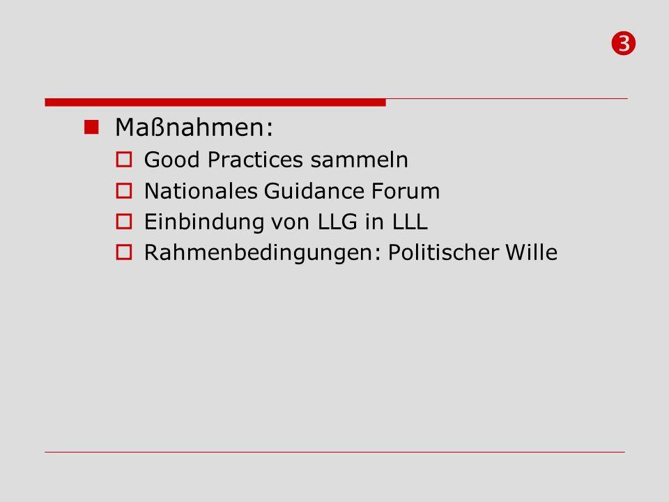 Maßnahmen: Good Practices sammeln Nationales Guidance Forum Einbindung von LLG in LLL Rahmenbedingungen: Politischer Wille