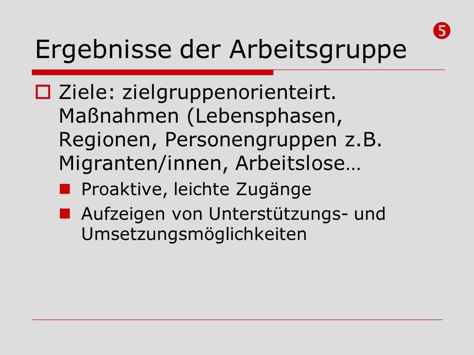 Ergebnisse der Arbeitsgruppe Ziele: zielgruppenorienteirt. Maßnahmen (Lebensphasen, Regionen, Personengruppen z.B. Migranten/innen, Arbeitslose… Proak