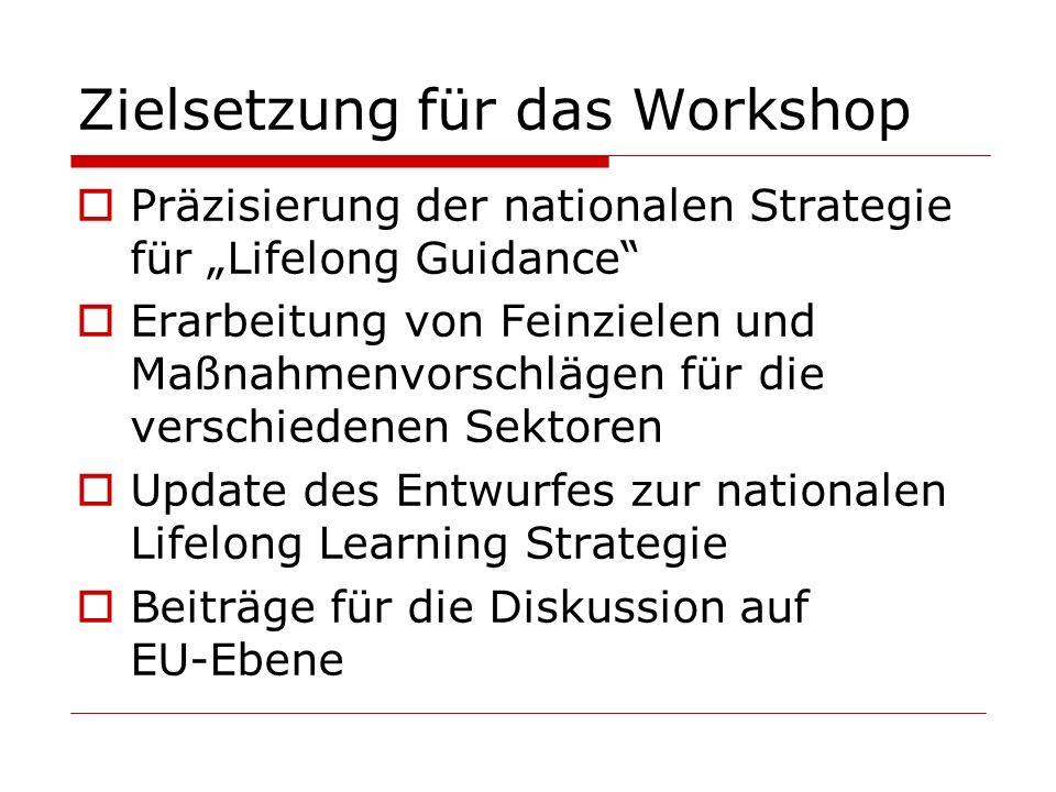 Zielsetzung für das Workshop Präzisierung der nationalen Strategie für Lifelong Guidance Erarbeitung von Feinzielen und Maßnahmenvorschlägen für die v