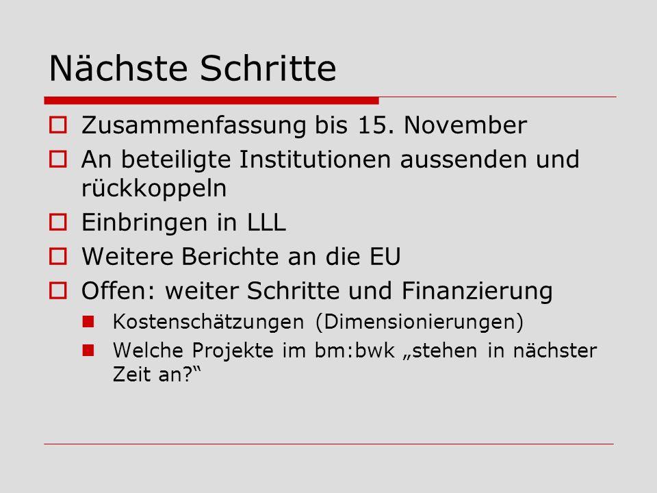 Nächste Schritte Zusammenfassung bis 15. November An beteiligte Institutionen aussenden und rückkoppeln Einbringen in LLL Weitere Berichte an die EU O