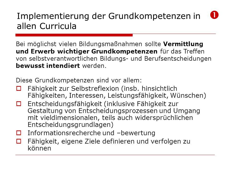 Implementierung der Grundkompetenzen in allen Curricula Bei möglichst vielen Bildungsmaßnahmen sollte Vermittlung und Erwerb wichtiger Grundkompetenze