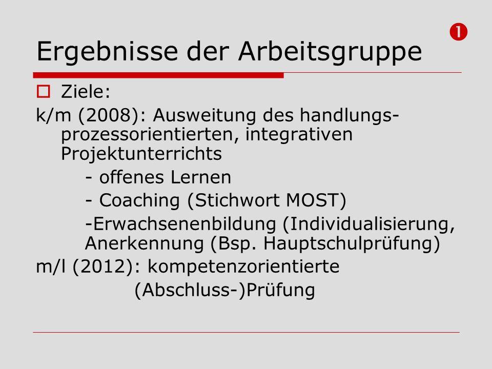 Ergebnisse der Arbeitsgruppe Ziele: k/m (2008): Ausweitung des handlungs- prozessorientierten, integrativen Projektunterrichts - offenes Lernen - Coac