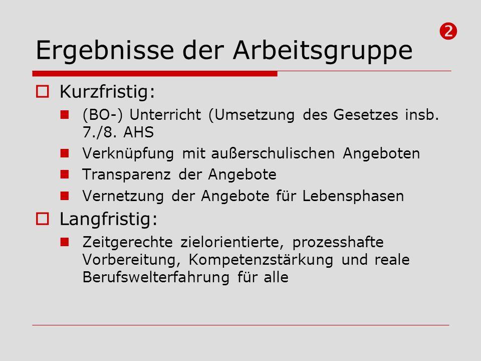 Ergebnisse der Arbeitsgruppe Kurzfristig: (BO-) Unterricht (Umsetzung des Gesetzes insb. 7./8. AHS Verknüpfung mit außerschulischen Angeboten Transpar