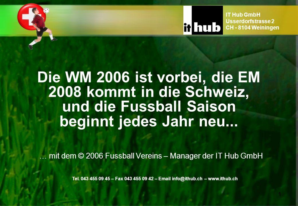 Die WM 2006 ist vorbei, die EM 2008 kommt in die Schweiz, und die Fussball Saison beginnt jedes Jahr neu... … mit dem © 2006 Fussball Vereins – Manage