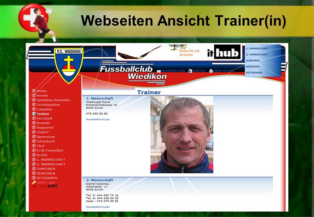 Webseiten Ansicht Trainer(in)