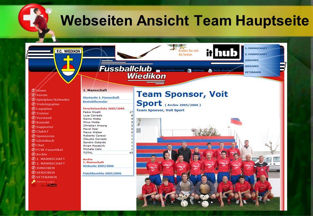 Webseiten Ansicht Team Hauptseite