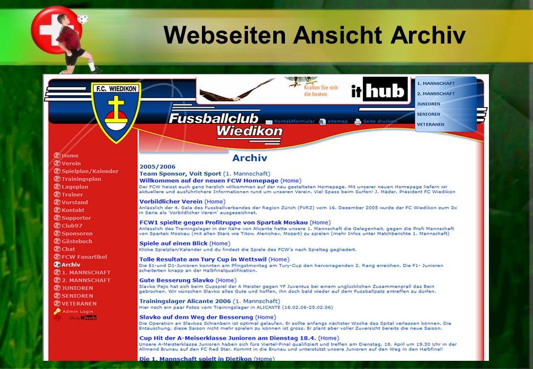 Webseiten Ansicht Archiv