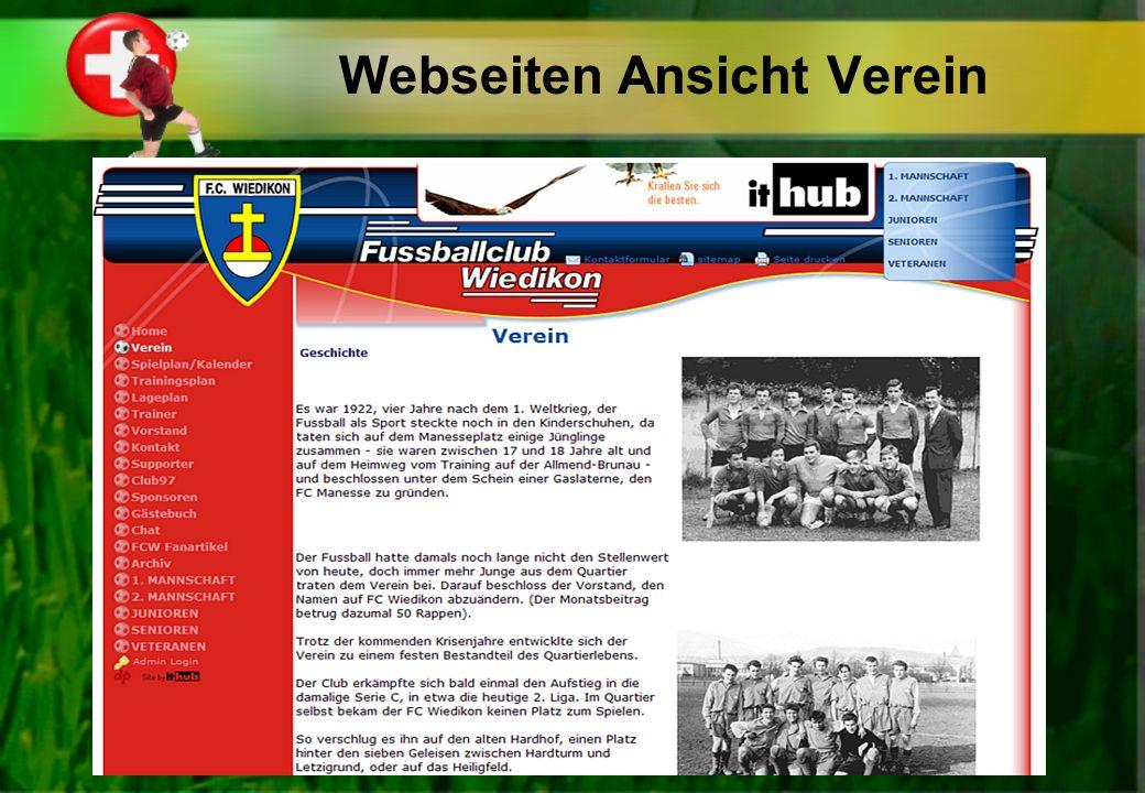 Webseiten Ansicht Verein
