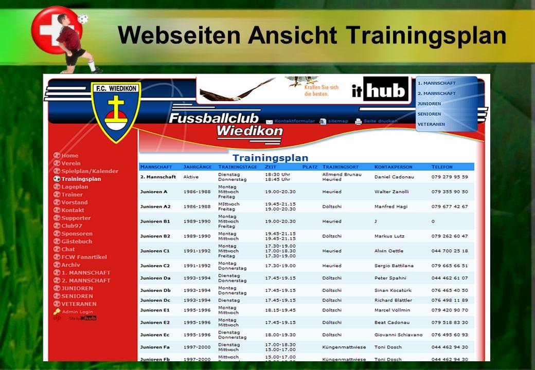 Webseiten Ansicht Trainingsplan
