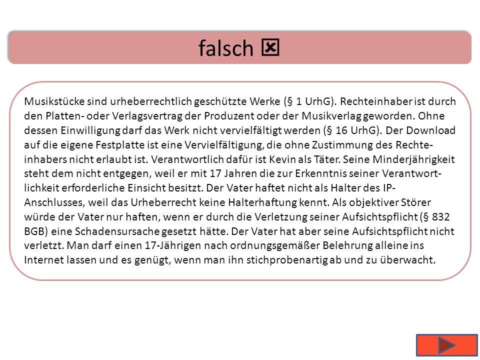 A ist richtig Musikstücke sind urheberrechtlich geschützte Werke (§ 1 UrhG). Rechteinhaber ist durch den Platten- oder Verlagsvertrag der Produzent od