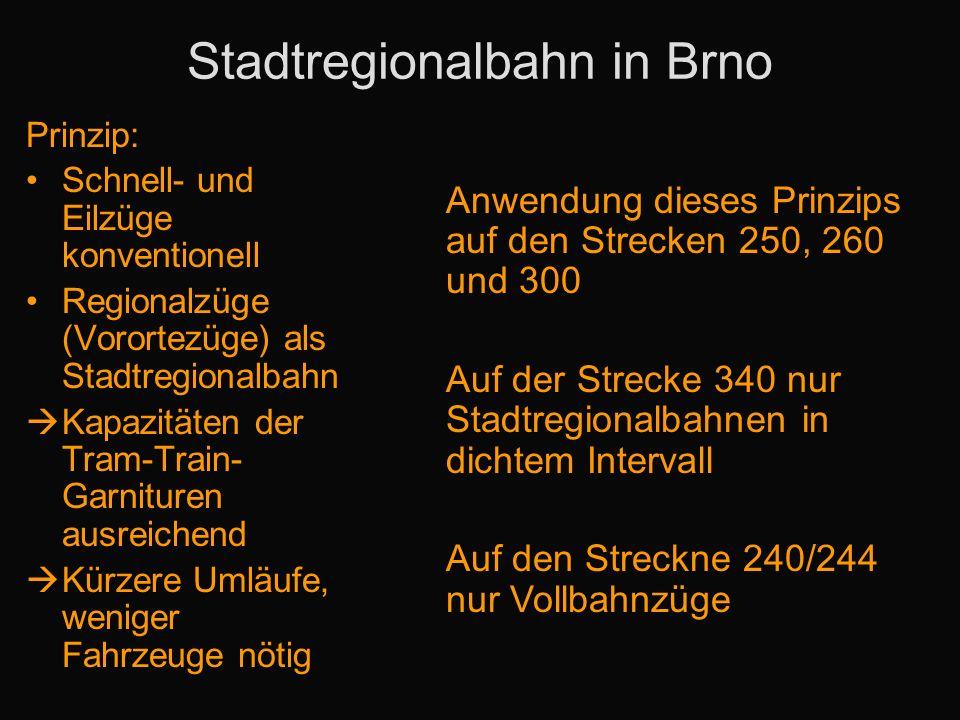 Stadtregionalbahn in Brno Prinzip: Schnell- und Eilzüge konventionell Regionalzüge (Vorortezüge) als Stadtregionalbahn Kapazitäten der Tram-Train- Gar