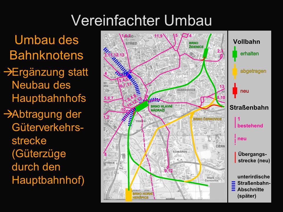 Vereinfachter Umbau Umbau des Bahnknotens Ergänzung statt Neubau des Hauptbahnhofs Abtragung der Güterverkehrs- strecke (Güterzüge durch den Hauptbahn
