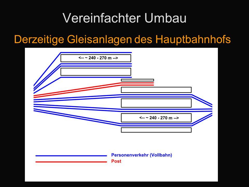 Vereinfachter Umbau Derzeitige Gleisanlagen des Hauptbahnhofs