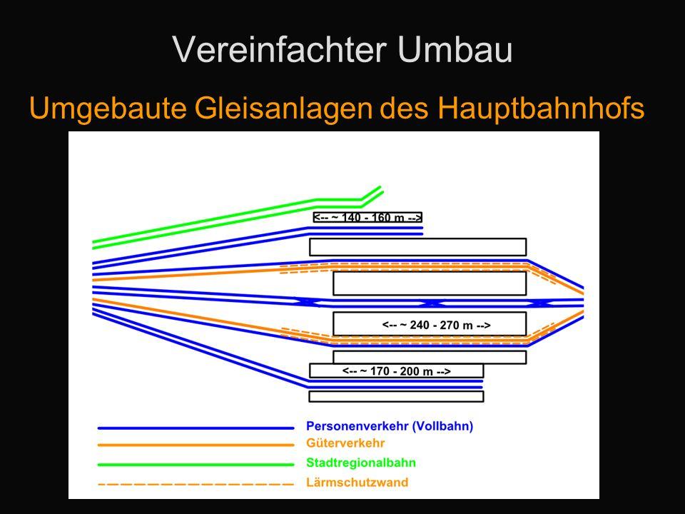 Vereinfachter Umbau Umgebaute Gleisanlagen des Hauptbahnhofs